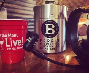 All the essentials...headphones, microphone, Barrio Man-Can growler & a red solo cup